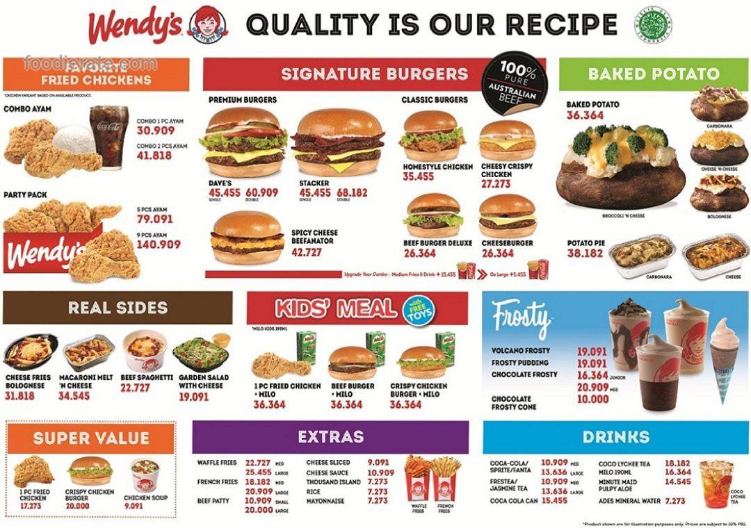 Daftar Harga Menu Wendy's