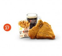 Menu Paket D: 2 Pc Chicken + Fries (French or Curly) + A&W Root Beer A & W Family